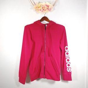 Adidas - pink full zip hooded arm logo jacket